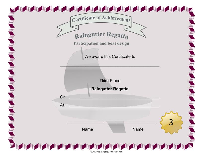 """Raingutter Regatta Third Place Certificate Template"" Download Pdf"