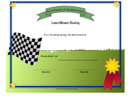 """Lawn Mower Racing Certificate of Achievement Template"""