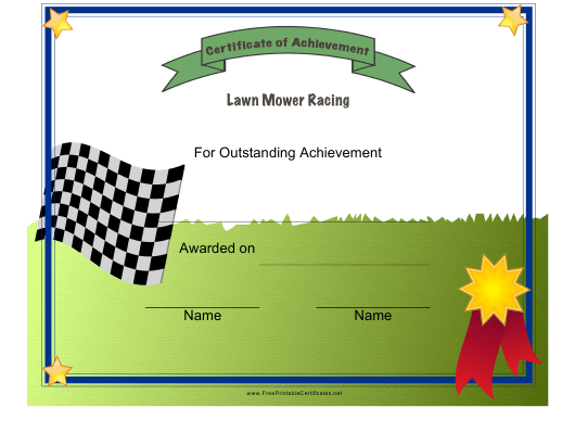 """Lawn Mower Racing Certificate of Achievement Template"" Download Pdf"