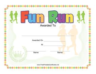 """""""Fun Run Award Certificate Template"""""""