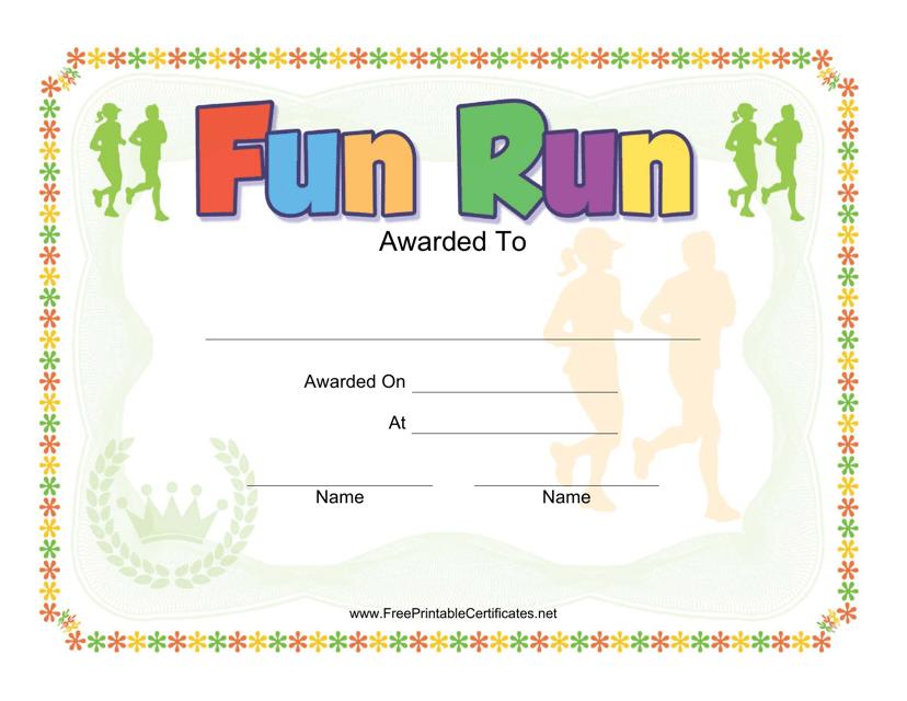 """Fun Run Award Certificate Template"" Download Pdf"