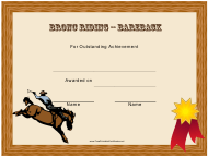 """Bareback Bronc Riding Rodeo Certificate of Achievement Template"" - Florida"