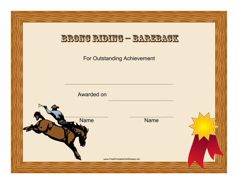 """Bareback Bronc Riding Rodeo Certificate of Achievement Template"" - Florida Download Pdf"
