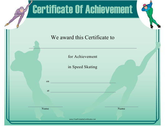 """""""Speed Skating Certificate of Achievement Template"""" Download Pdf"""