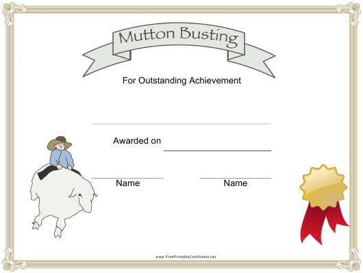 """""""Mutton Busting Rodeo Certificate of Achievement Template"""" Download Pdf"""