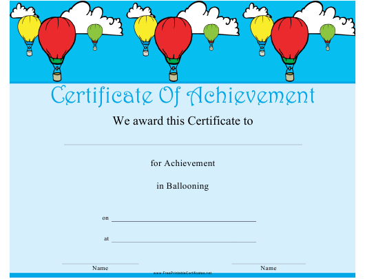 """Ballooning Certificate of Achievement Template"" Download Pdf"