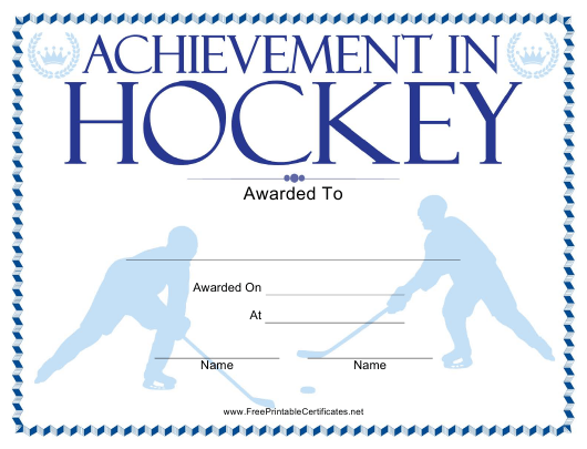 Hockey Certificate Of Achievement Template Download Printable Pdf