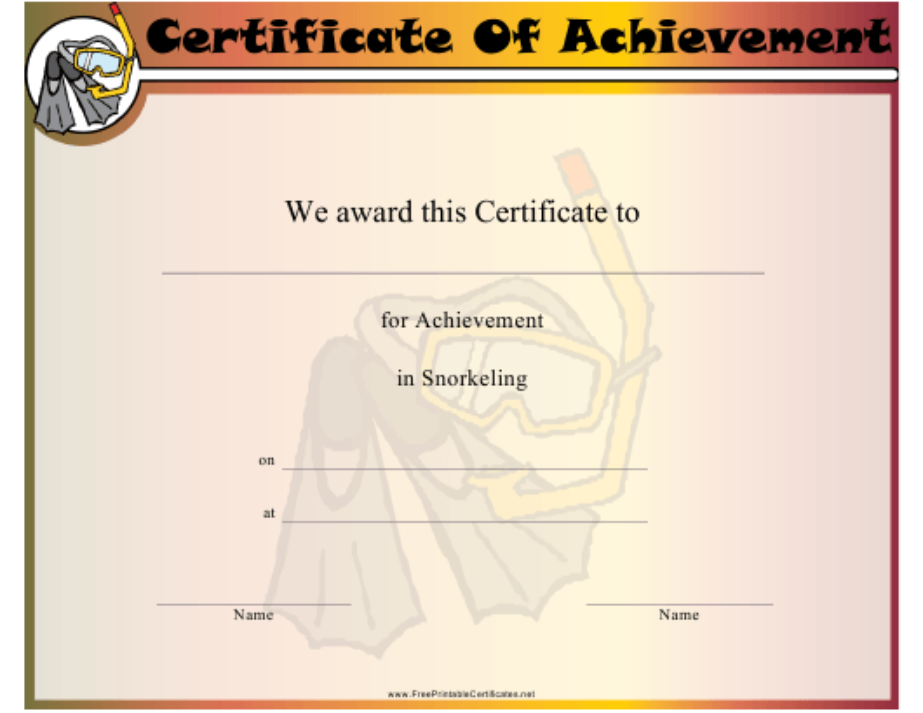 """Snorkeling Certificate of Achievement Template"" Download Pdf"