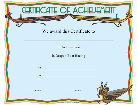 """Dragon Boat Racing Achievement Certificate Template"" Download Pdf"