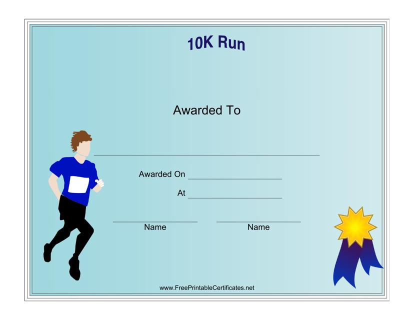 """10k Run Certificate Template"" Download Pdf"