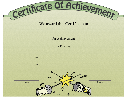 """""""Fencing Certificate of Achievement Template"""" Download Pdf"""