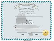 """Raingutter Regatta First Place Certificate Template"""