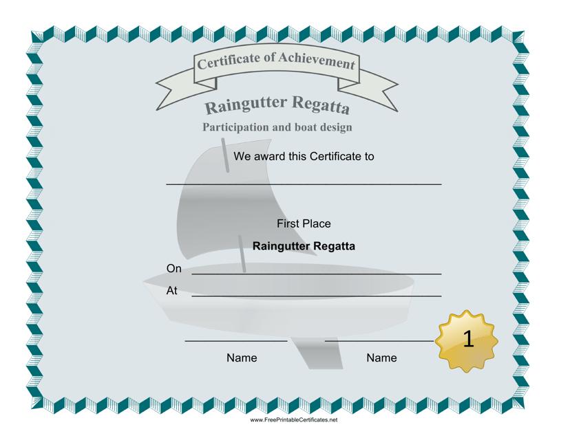 """""""Raingutter Regatta First Place Certificate Template"""" Download Pdf"""