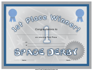 """Space Derby First Place Certificate Template"""