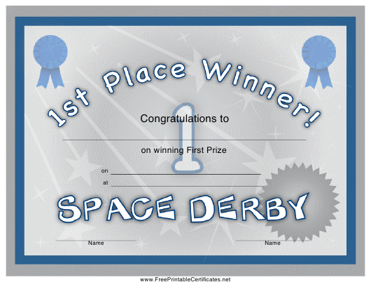 """""""Space Derby First Place Certificate Template"""" Download Pdf"""
