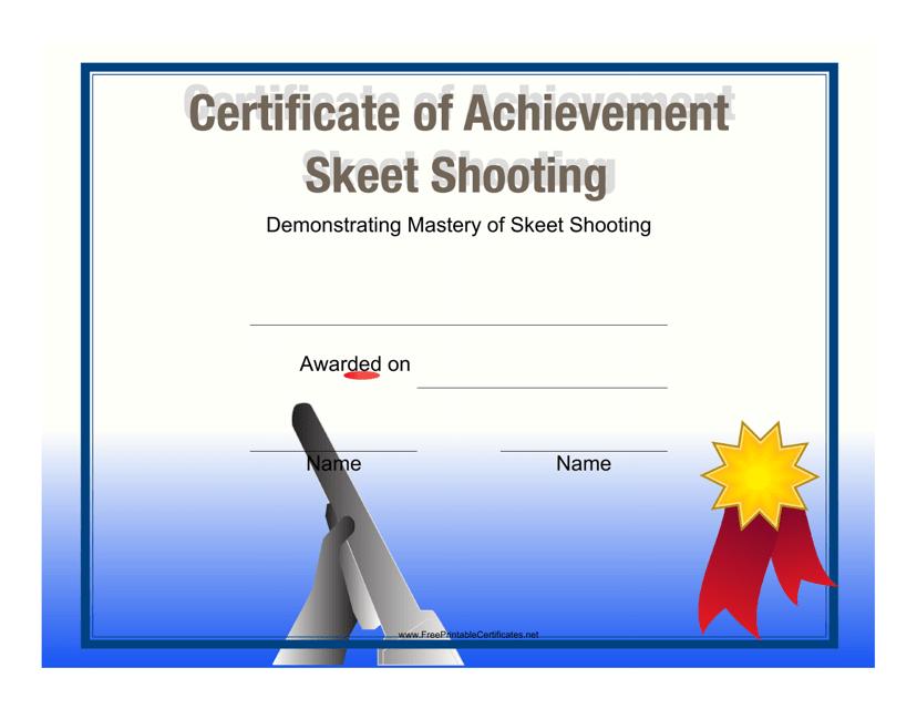"""Skeet Shooting Certificate of Achievement Template"" Download Pdf"