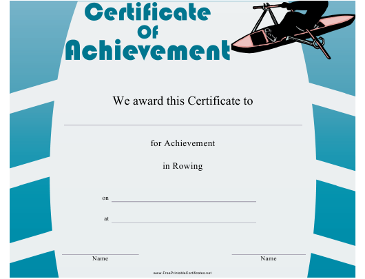 """Rowing Certificate of Achievement Template"" Download Pdf"