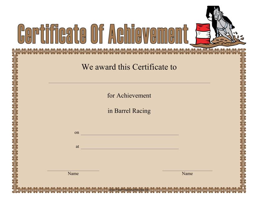 """Barrel Racing Certificate of Achievement Template"" Download Pdf"