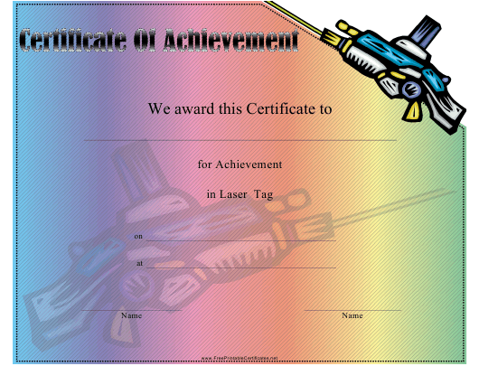 """""""Laser Tag Certificate of Achievement Template"""" Download Pdf"""