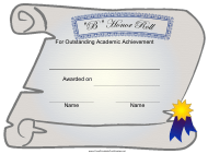 """Certificate of Academic Achievement Template - B Honor Roll"""