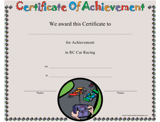 """""""RC Car Racing Certificate of Achievement Template"""" Download Pdf"""