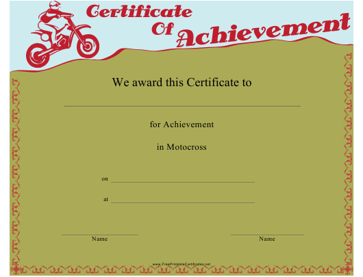 """Motocross Certificate of Achievement Template"" Download Pdf"