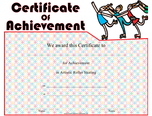 """Artistic Roller Skating Certificate of Achievement Template"" Download Pdf"