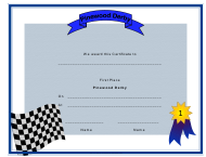 """Pinewood Derby First Place Certificate Template"""