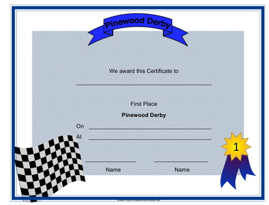 """Pinewood Derby First Place Certificate Template"" Download Pdf"