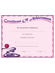 Rhythmic Gymnastics Certificate Of Achievement Template