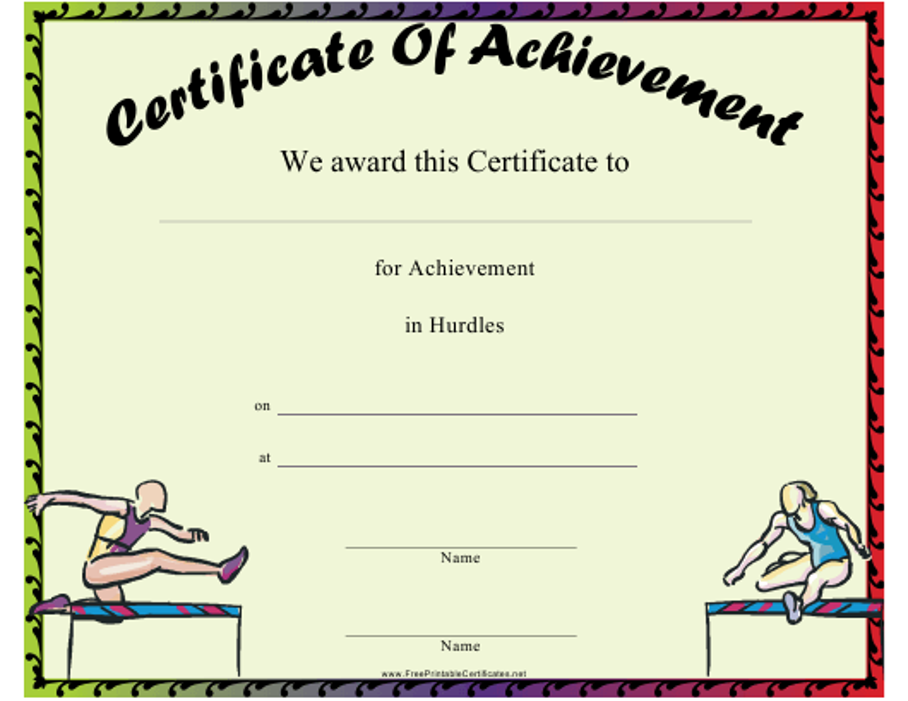 """Hurdles Certificate of Achievement Template"" Download Pdf"