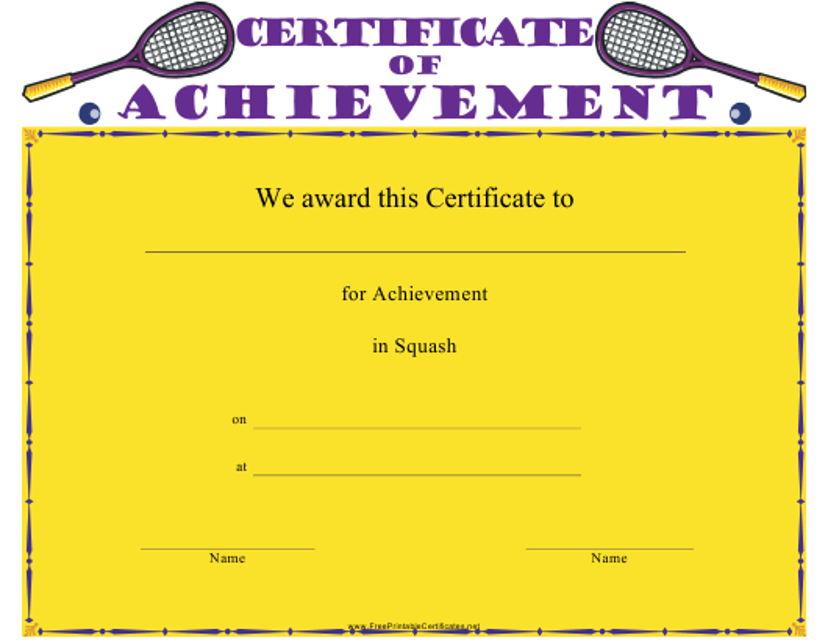 """Squash Certificate of Achievement Template"" Download Pdf"