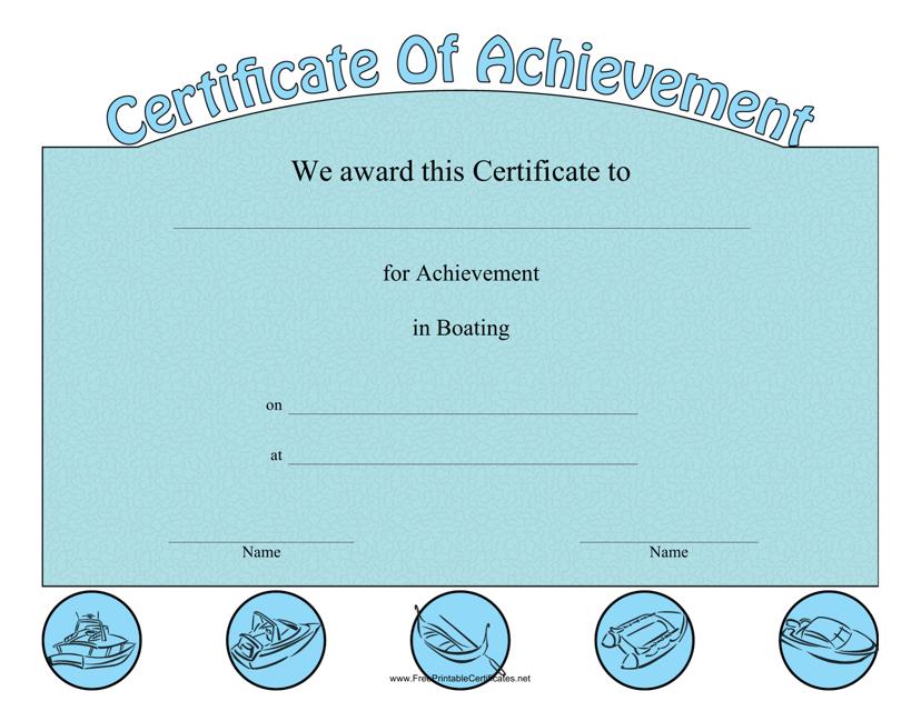 """Boating Achievement Certificate Template"" Download Pdf"