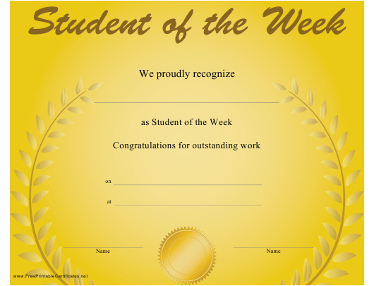 """Student of the Week Certificate Template"" Download Pdf"