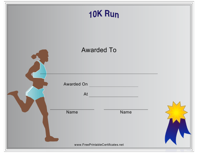 """10k Run Certificate of Participation Template - Female"" Download Pdf"