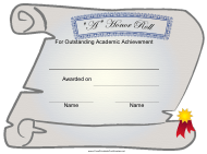 """""""""""a"""" Honor Roll Certificate of Academic Achievement Template"""""""