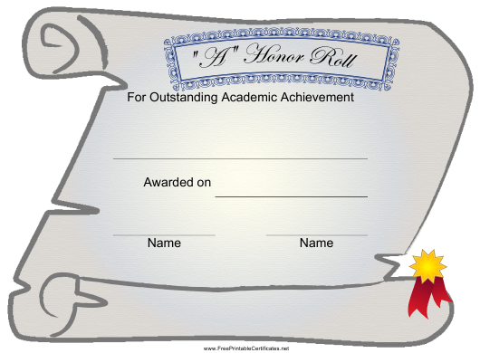 """""""""""a"""" Honor Roll Certificate of Academic Achievement Template"""" Download Pdf"""