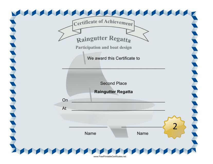 """Raingutter Regatta Second Place Certificate Template"" Download Pdf"