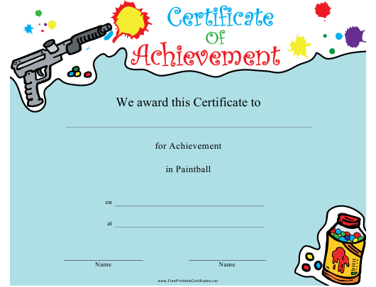 """""""Paintball Certificate of Achievement Template"""" Download Pdf"""