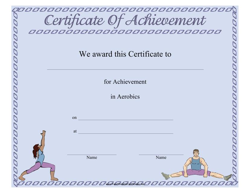 """Aerobics Certificate of Participation Template"" Download Pdf"
