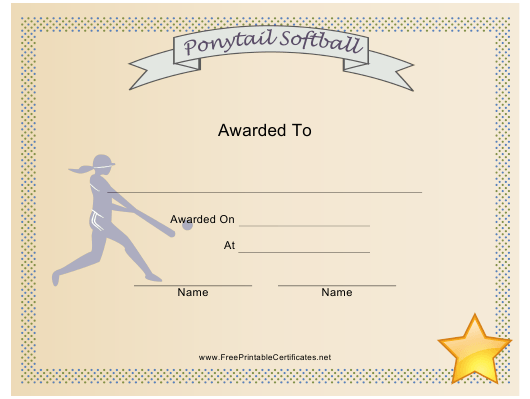 """Ponytail Softball Award Certificate Template"" Download Pdf"