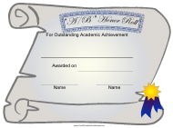 """Certificate of Academic Achievement Template - a/B Honor Roll"""