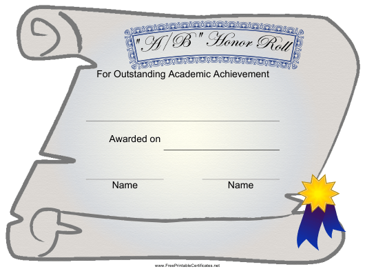 """""""Certificate of Academic Achievement Template - a/B Honor Roll"""" Download Pdf"""