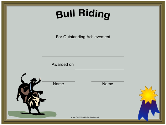 """Rodeo Bull Riding Certificate Template"" Download Pdf"