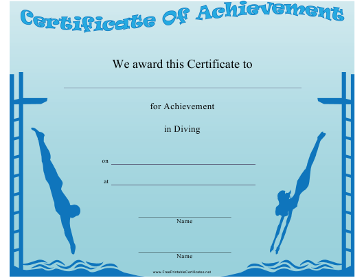 """High Diving Achievement Certificate Template"" Download Pdf"