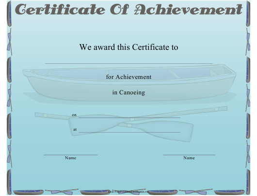 """""""Canoeing Certificate of Achievement Template"""" Download Pdf"""
