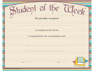 """Student of the Week Certificate of Recognition Template"""