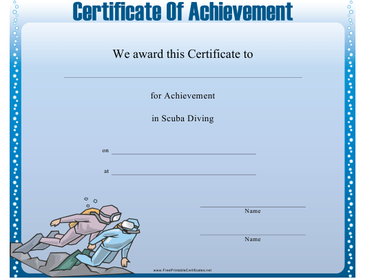 """Scuba Diving Certificate of Achievement Template"" Download Pdf"