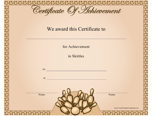 """""""Skittles Certificate of Achievement Template"""" Download Pdf"""