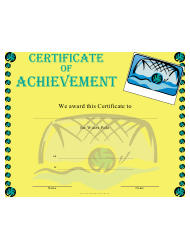 Water Polo Achievement Certificate Template